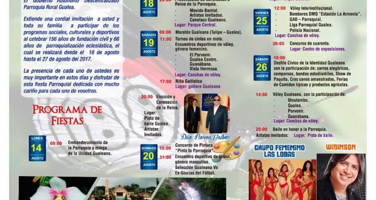 GUALEA INVITA A CELEBRAR SUS FIESTAS DE FUNDACION.
